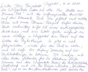 """Brief in den Knast (die AbsenderInnen waren ZuhörerInnen bei einem Vortrag zu """"Monsanto auf Deutsch"""" vor einigen Monaten in Wuppertal"""